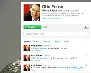 Twitter-Antwort von Otto Fricke (FDP) (Screenshot von Frickes Twitter-Account)
